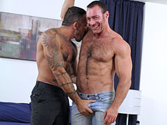 Two huge muscle gay bears