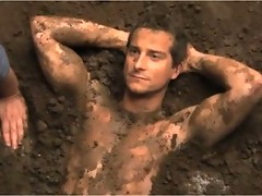 Bear Grylls gets dirty then goes to studio for a photoshoot