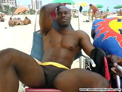 Hot guys teases us with their sexy trunks on the beach