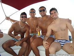 Great bodied amatuer guys having fun posing on the beach
