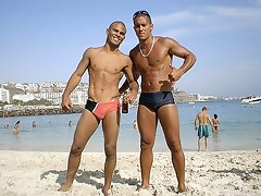 Hot muscular bodies on the beach