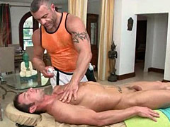 Muscular dude hard fucking stud after long massage