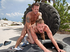 Two horny tattoed studs hard fucking in public
