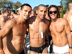 Good looking amatuer hunks on the beach having fun