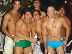 Hot and young amateur beach boys posing outdoors