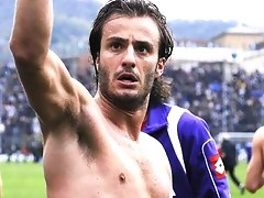 A shirtless Alberto Gilardino showing off his lean tight torso