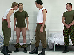Soldiers order him to worship their boots and then trample on his naked body