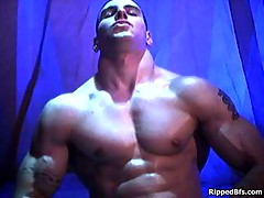 Hunk dude is topless flexing up hard his big muscles