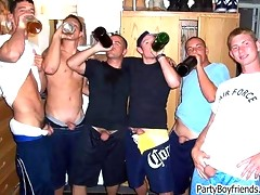 Party boys are dancing outdoor and topless showing off