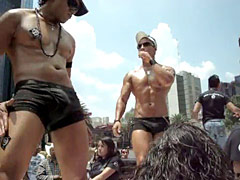 Gay hunks with great bodies out in middle of city