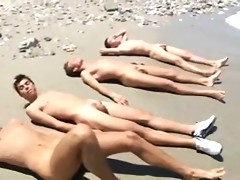 Naked nude on beach bum cock