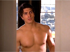 Male celeb Brandon Routh is topless and got into various position